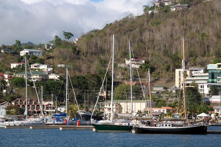 sain: Marina and yahts in the Sain George in Grenada Stock Photo