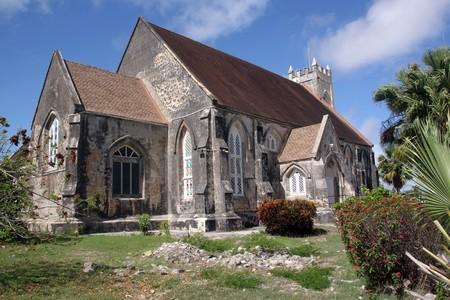 古い石のカリブ島のバルバドスの聖公会教会 写真素材