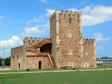 Green grass and stone tower inside fort Ozama in Santo Domingo, Dominicana Stock Photo - 7786019