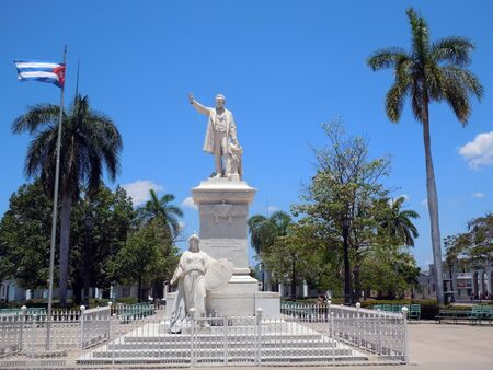 jose: Statue of Jose Marti on the centeal square in Sienfuegos, Cuba           Stock Photo