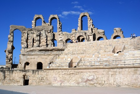 Arena in roman theater in El-Jem, Tunisia              photo