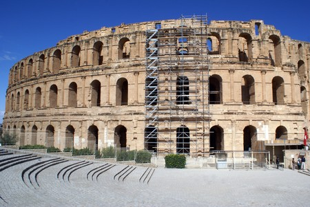 Big roman amphitheater in El-Jem, Tunisia                    photo