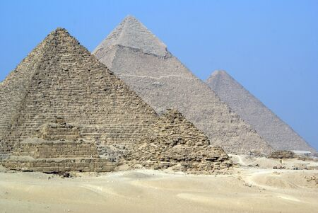 chephren: Four piramids and desert in Giza, Egypt                  Stock Photo