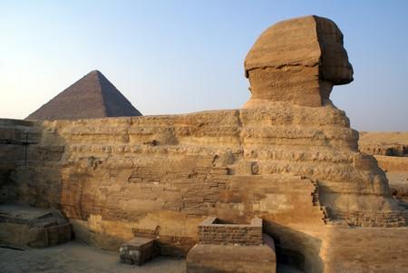 Sphinks and shadow near piramids in Giza, Egypt            photo
