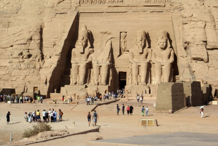 Temple in Abu Simbel and tourists, Egypt                 Stock Photo