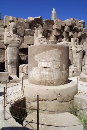 Big column and tall obelisk in Karnak temple in Luxor, Egypt                   photo