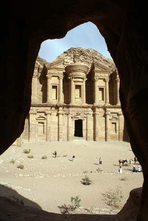 Looking through the cave on the monastery in Petra, Jordan