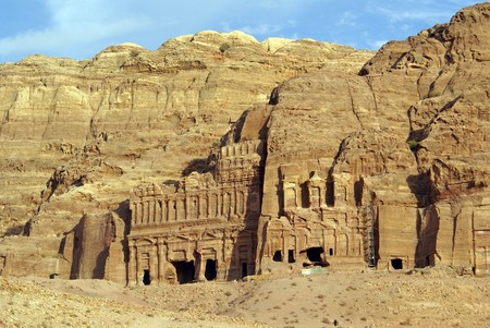 of petra: Rock and royal tombs in Petra, Jordan