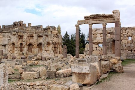 heliopolis: Columns and ruins in Baalbeck roman temple, Lebanon Stock Photo