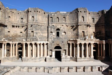 Stage of roman theater in Bosra, Syria photo
