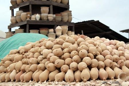 ceramicist: Small pottery factory near Manbama city in Bahrein Stock Photo