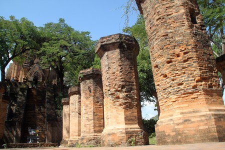 Brick columns and cham tower in Nha Trang in Vietnam  photo