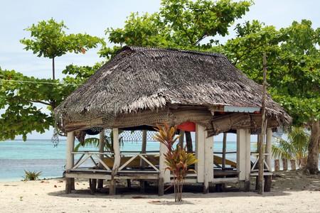 samoa: Traditional beach house in Savaii, Samoa Stock Photo