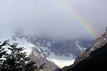 Tree, mount and rainbow near El Chalten in Argentina   photo