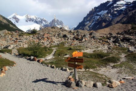 Footpath in national park near El Chalten in Argentina photo