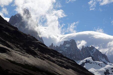 cerro fitzroy: Mountain and clouds in national park near El Chalten, Argentina