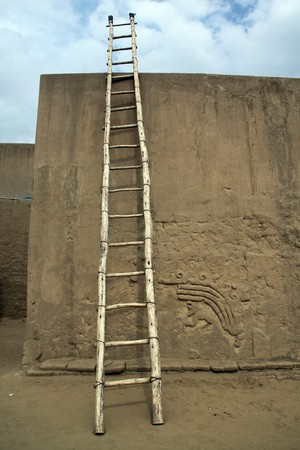 chan: Ladder and wall in ruins of Chan Chan in north Peru