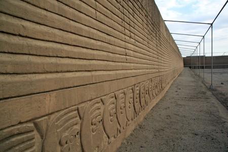 chan: Long wall of ruins in Chan Chan, north Peru
