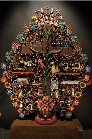 Mayan tree of life in museum Mexico                    photo