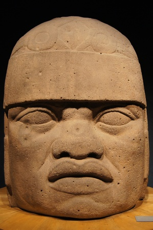 Big head of olmec warrior in museum Mexico