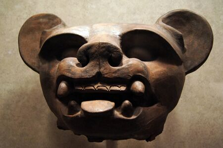 Ceramic pig face in museum antropology Mexico                     photo