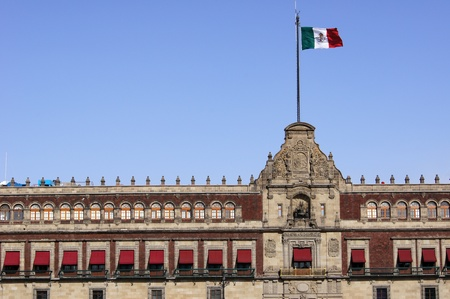 Mexican flag on the roof of President palace in Mexico                   Stock Photo