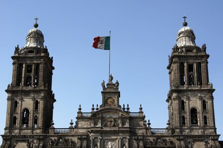Towers of cathedral in Mexico-city, Mexico              Stock Photo