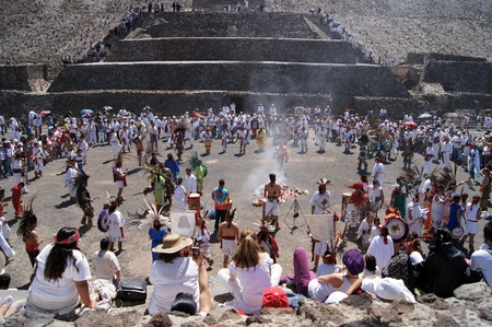 Dance near basement of Sun piramid in Teothuacan, Mexico                     Stock Photo