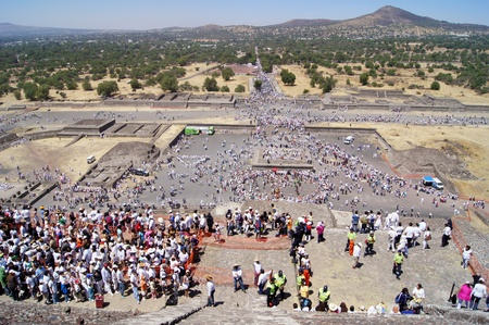 ancient civilisations: View from the top of Sun piramid in Teothuacan, Mexico