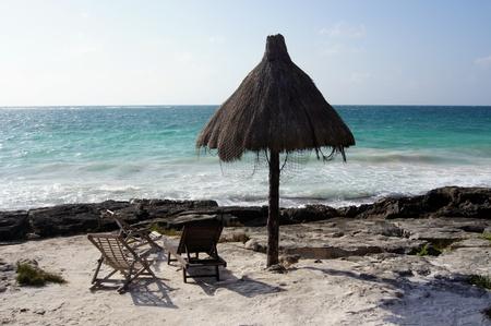 Carribean beach in Tulum, Yucatan, Mexico           photo