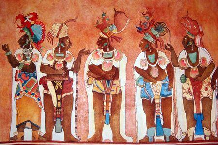 maya: Fresco con indeans en la pared del templo                   Foto de archivo