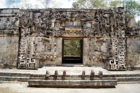 mayan culture: Old stone temple and door in Chicanna, Mexico