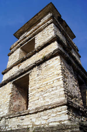 Corner of the tower of Temple of the Count in Palenque, Mexico                      photo