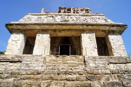 Stone temple on the top of piramid in Palenque, Mexico                      photo