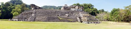 Wide stone staircase and palace in Palenque, Mexico                   photo