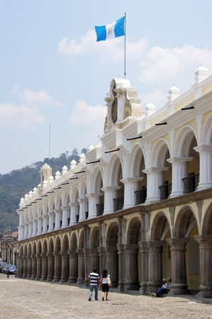 Facade of Grand palace on the main square in Antigua Guatemala