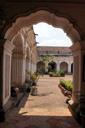 antigua: Arch and inner yard of palace in Antigua Guatemala