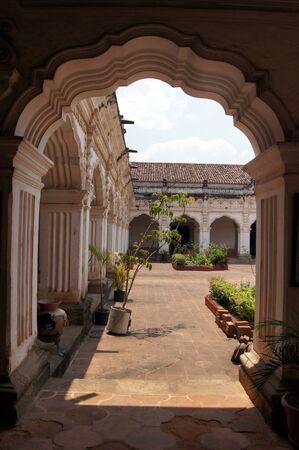 hispanic ethnicity: Arch and inner yard of palace in Antigua Guatemala