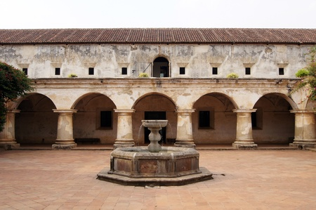 Fountain inside capuchin monastery in Antigua Guatemala                 Stock Photo