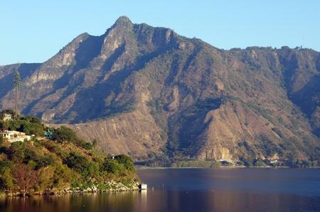 basin mountain: Mountain and lake Atitlan near San Pedro, Guatemala