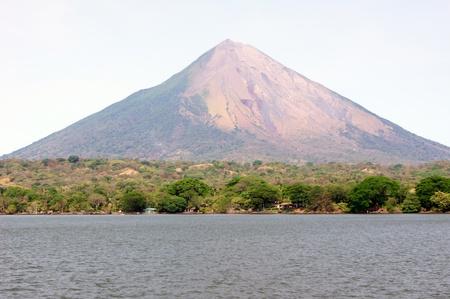 ニカラグア湖と火山島オメテペ コンセプシオン 写真素材