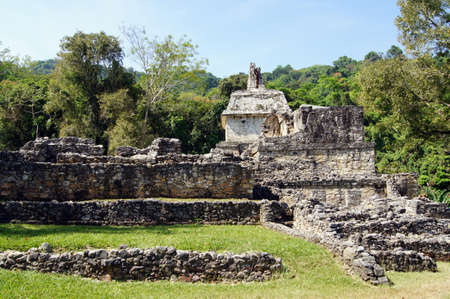Stone temple and ruins in Palenque, Mexico               photo