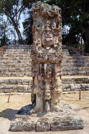 Statue of mayan god on the square in Copan, Honduras