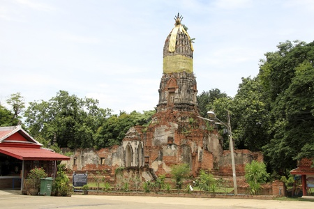 tha: Brick stupa in Wat Choeng Tha in Ayutthaya in Thailand Editorial