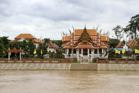 respectful: Buddhist temple on the river in Ayutthaya, Thailand