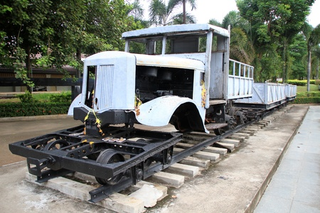 boxcar train: Truck as a locomotive near bridge on the river Kwai, Thailand Editorial