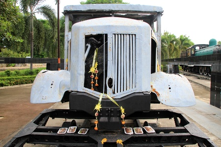 Truck on the rail near bridge on the river Kwai, Thailand