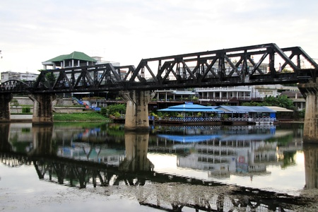 Bridge and reflection on the river Kwai, Thailand