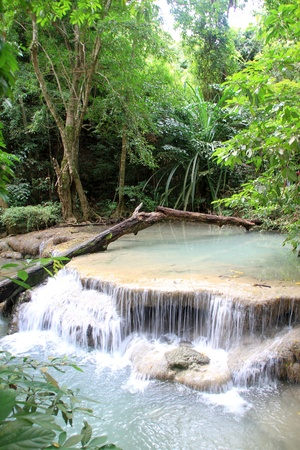 Smooth water in the Erawan waterfall, Thailand photo