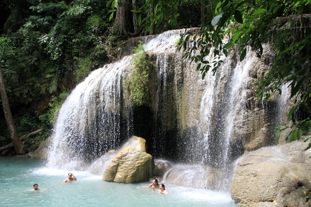 perk: People and Erawan waterfall in national perk, Thailand